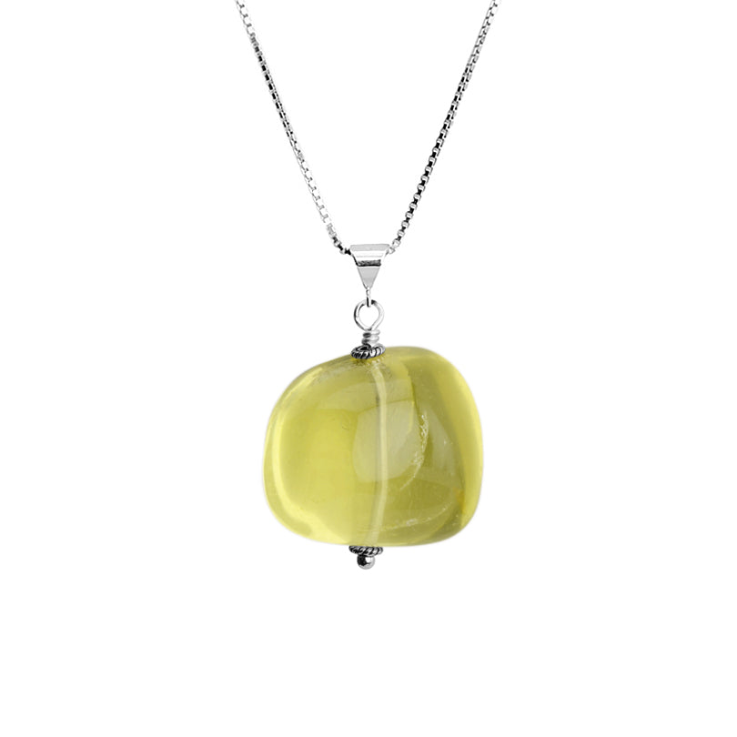 "Large Smooth Lemon Quartz Stone on Sterling Silver Necklace 16"" - 18"""