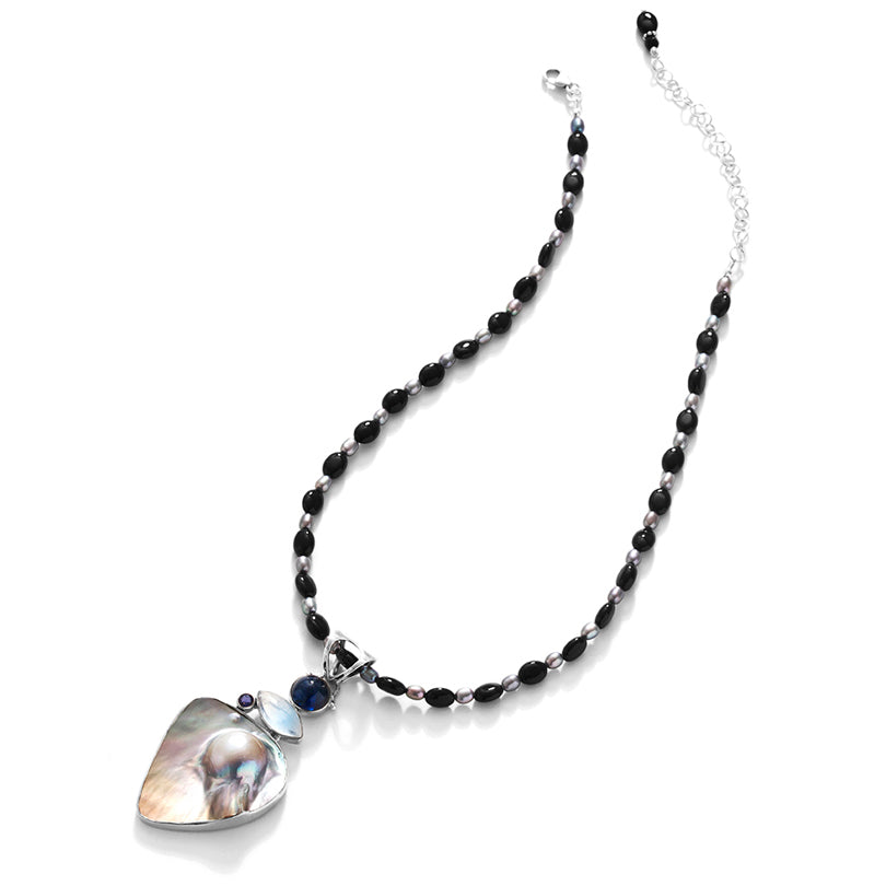 Beautiful Mabe Blister Pearl Onyx  & Gems Sterling Silver Necklace