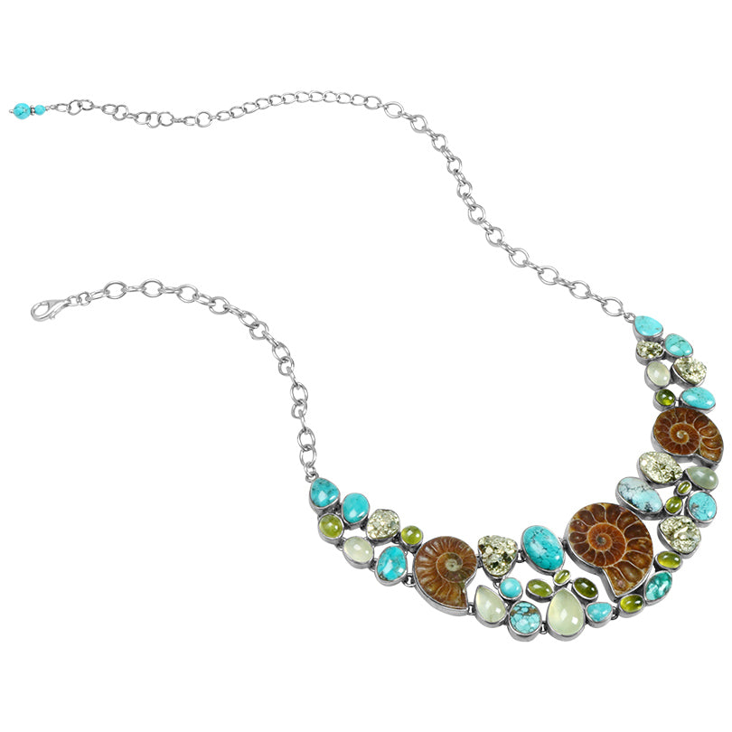 Classic Ammonite and Gemstone Sterling Silver Statement Necklace