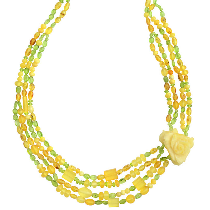 Gorgeous Polish Designer Hand Carved Baltic Butterscotch Amber with Peridot Statement Flower Necklace