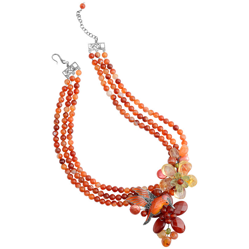 Gorgeous Carnelian Flower with Silver Hummingbird & lemon Quartz Flower Statement Necklace