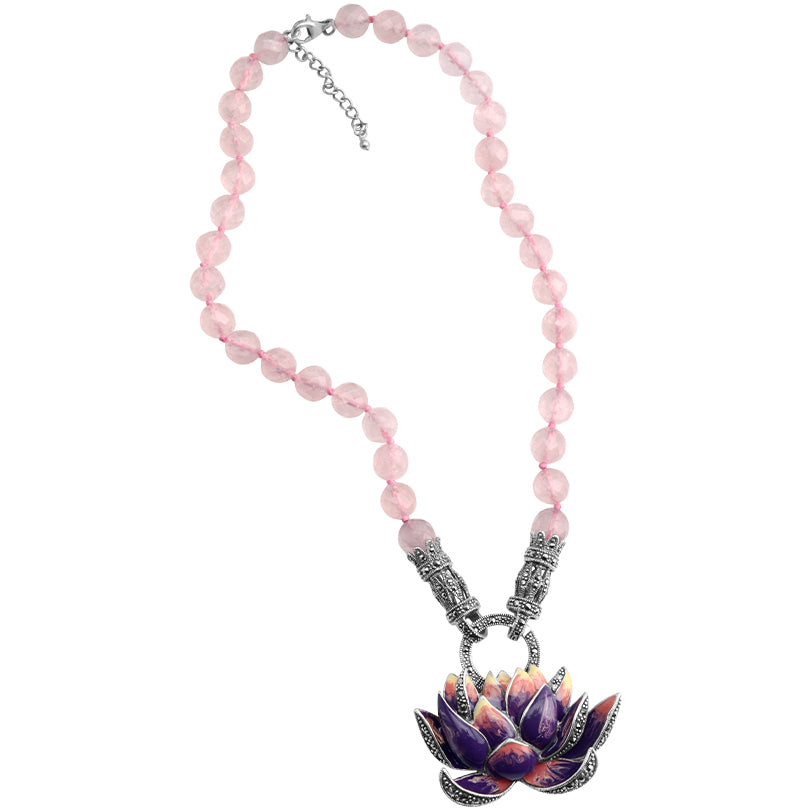 Gorgeous Sterling Purple Lily on Faceted Rose Quartz Beads  Statement Flower Necklace