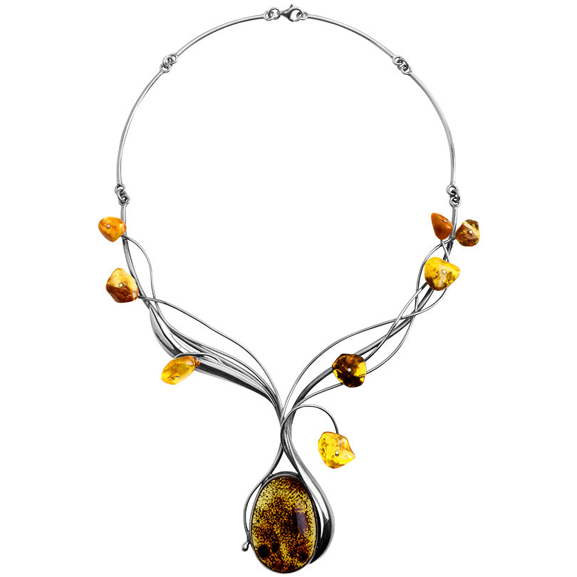 Polish designer Mixed Baltic Cognac Amber Stones Sterling Silver Statement Necklace