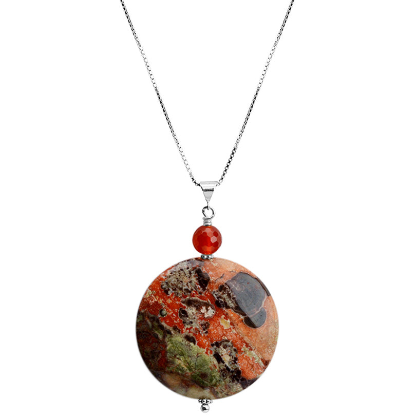 Gorgeously Colorful Natural Jasper and Carnelian Sterling Silver Necklace