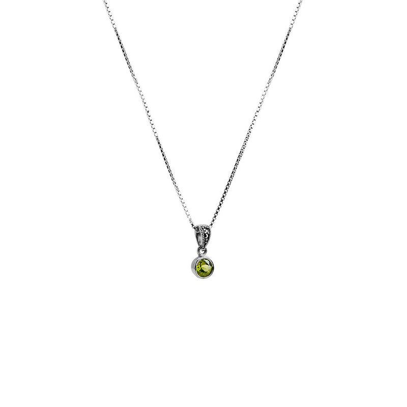 Beautiful Dainty Peridot and Marcasite Sterling Silver Necklace 16