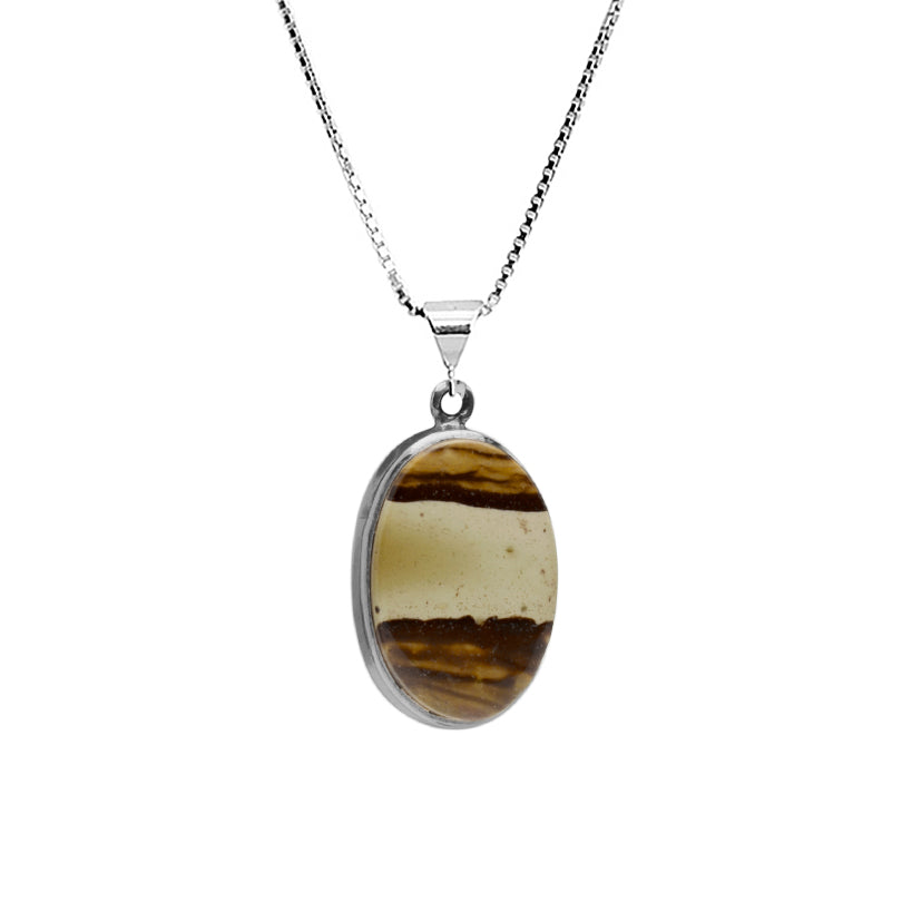 "Picture Jasper Sterling Silver Necklace 16"" - 18"""