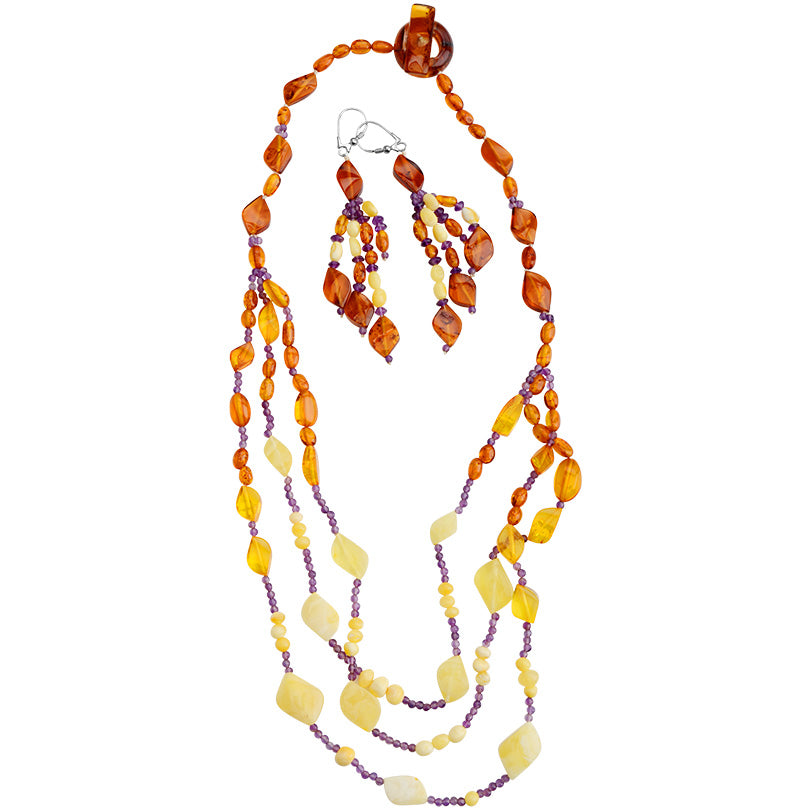 Delicate Strands of Baltic Amber with Amethyst Accents Necklace & Earring Set