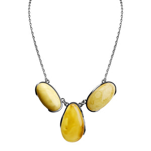Gorgeous Bright 3-Stone Butterscotch Baltic Amber Sterling Silver Necklace 18""