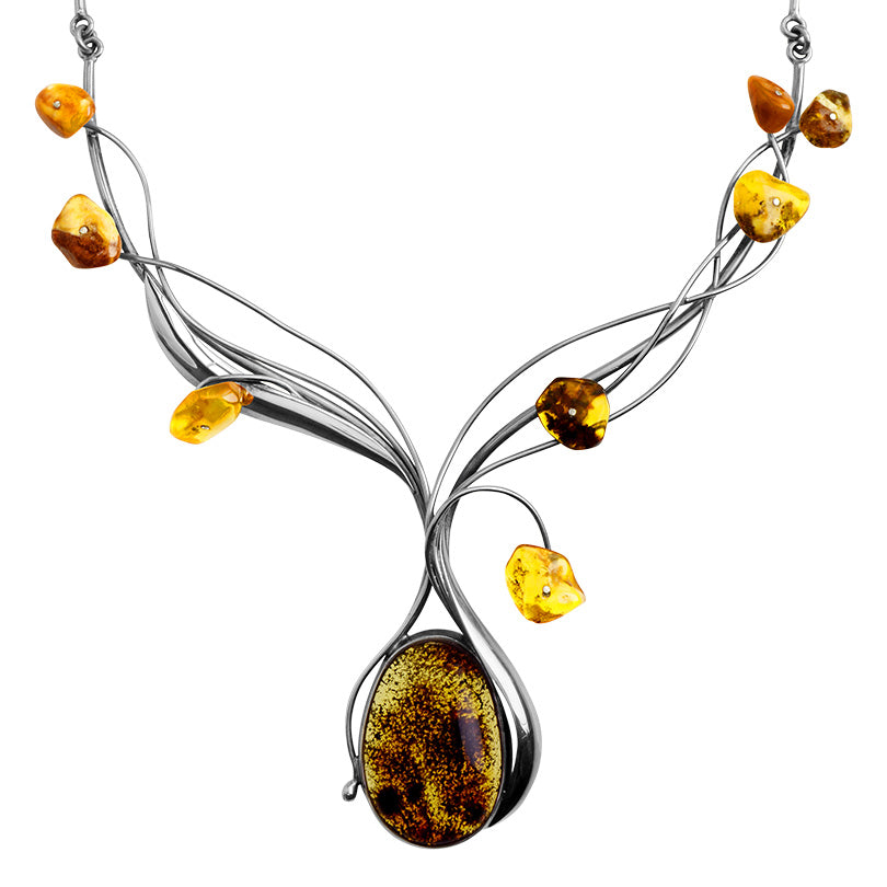 Gorgeous Mixed Baltic Cognac Amber Stones Sterling Silver Statement Necklace 18""
