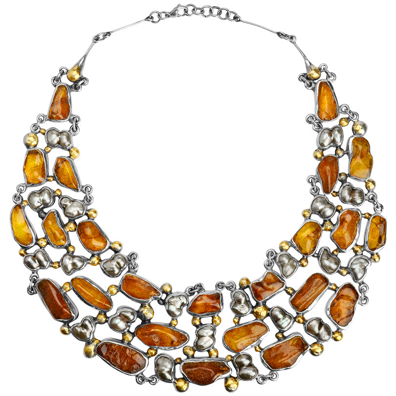 Magnificent Pomianowski Baltic Amber Sterling Silver Statement Necklace