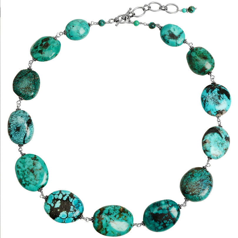 "Gorgeous Large Turquoise Stones Sterling Silver Statement Necklace 19"" - 21"""