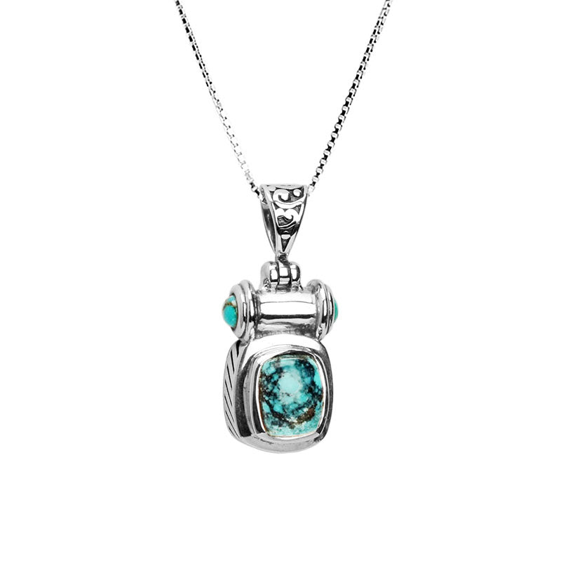 "Sky Blue Natural Small Stone Turquoise Sterling Silver Necklace- 16""-18"""