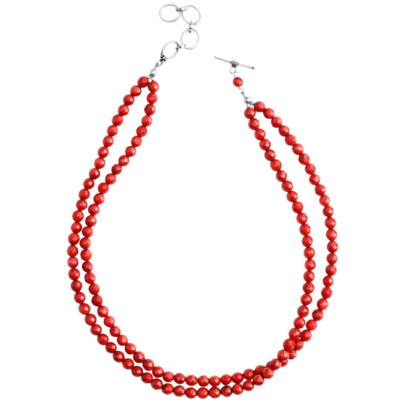 Beautiful Faceted Cherry Red Bamboo Coral Double Strand Sterling Silver Necklace