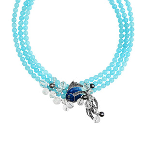 Darling Blue Jade Koi Fish Sterling Silver Necklace