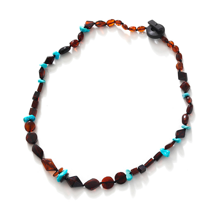 Striking Cherry & Cognac Baltic Amber with Turquoise Necklace