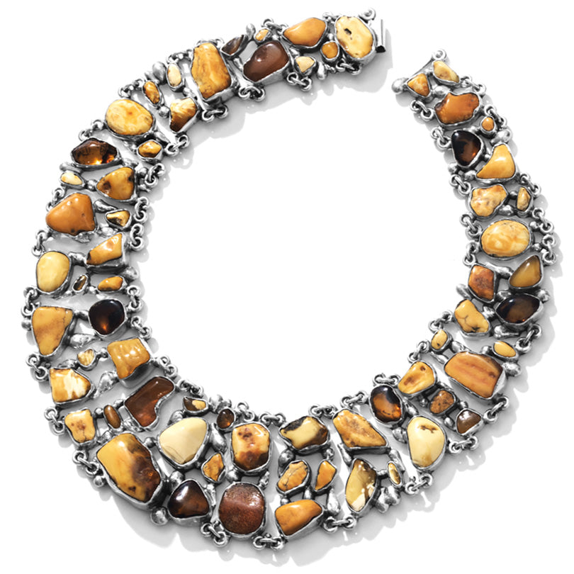 Polish Designer Pomianowski Magnificent Amber Sterling Silver Statement Necklace