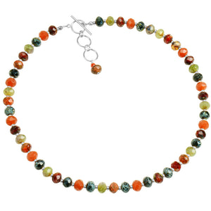 Beautiful Belgium Glass Stones Sterling Silver or Gold Filled Toggle Necklace