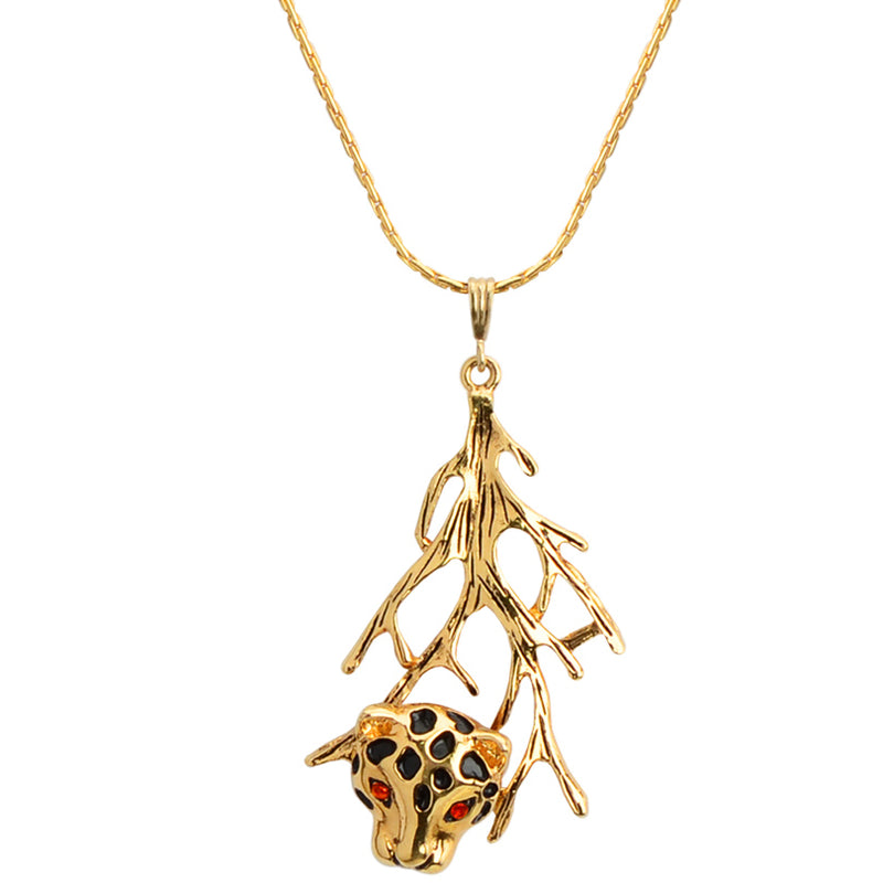 Elegant Leopard 18kt Gold Plated Sterling Silver Italian Necklace With Red Eyes! 16