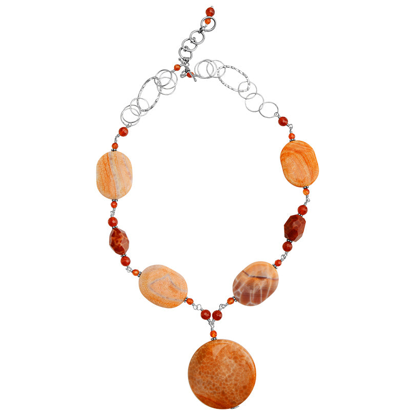 "Sunrise Agate and Carnelian Sterling Silver Necklace 20"" - 22"""