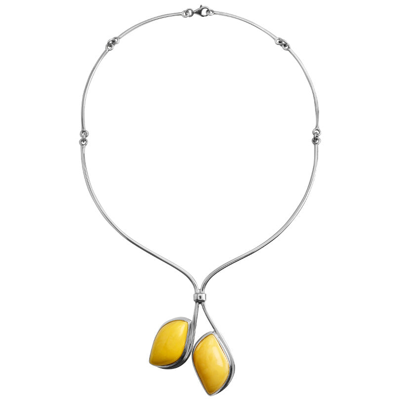 Polish Designer Lovely Butterscotch Baltic Amber Sterling Silver Statement Necklace