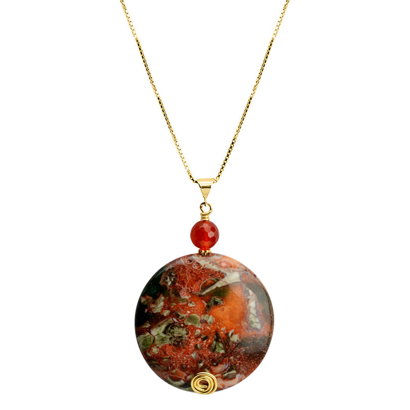 "Vibrant Orange Jasper and Carnelian Italian  Vermeil Chain Necklace 16"" - 18"""