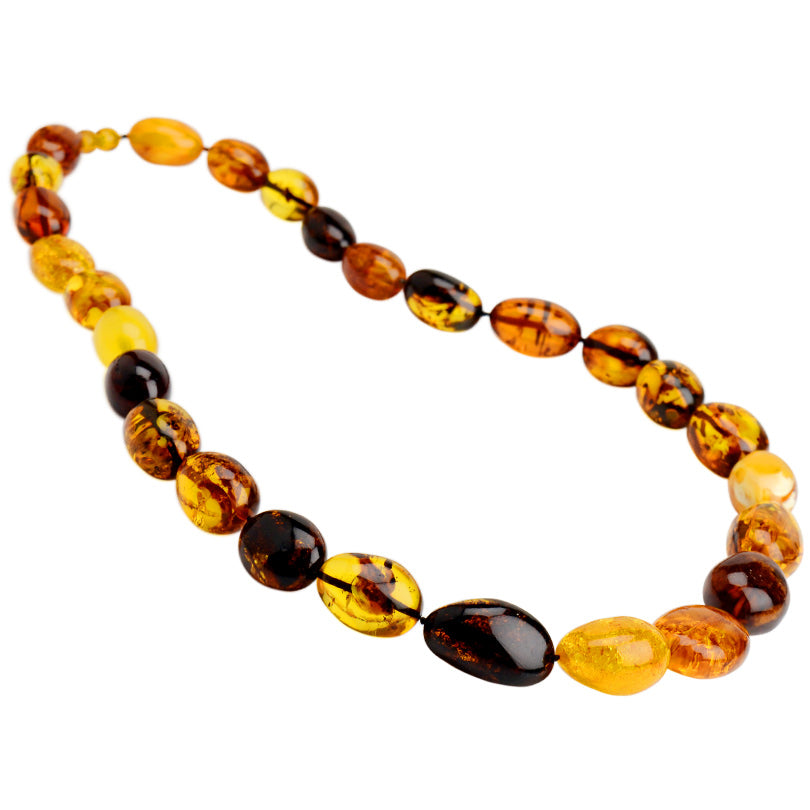 Polish Designer Magnificent large Baltic Amber Stones Beaded Statement Necklace 27""