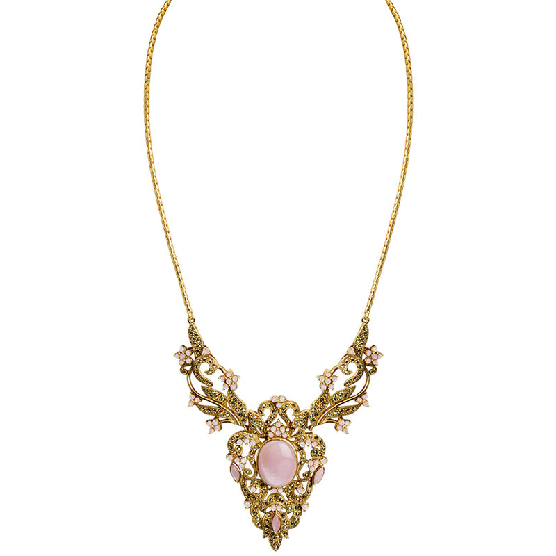 Victorian Style Pink Shell Marcasite 14kt Gold Plated Statement Necklace