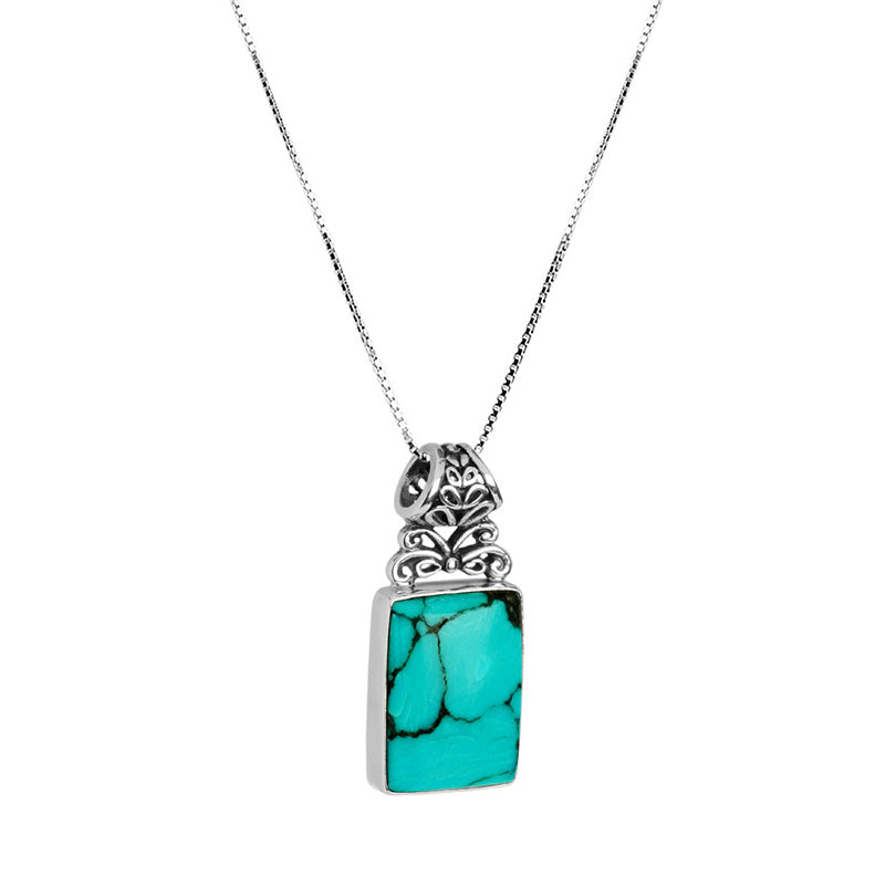 "Lush, Lagoon Breeze Blue Natural Turquoise Sterling Silver Necklace- 16""-18"""
