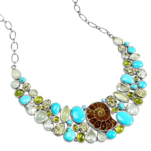 Bright Blue Genuine Arizona Turquoise with Ammonite and Gemstones Silver Statement Necklace