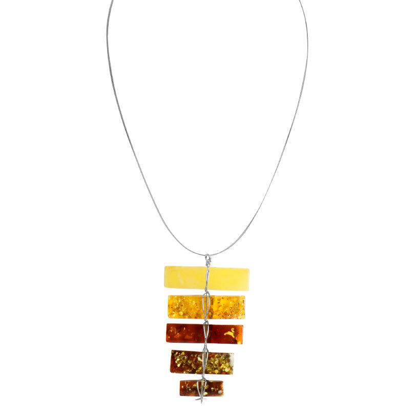 Gorgeous Rainbow Amber Stair-Step Necklace