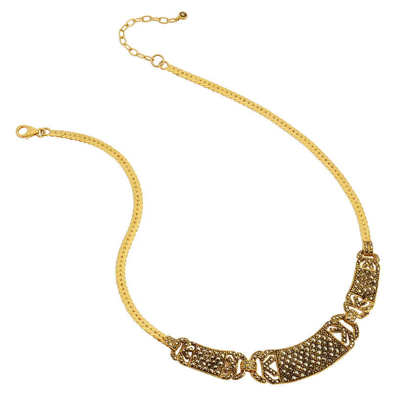 Elegant Vintage Style Marcasite 14kt Gold Plated Necklace