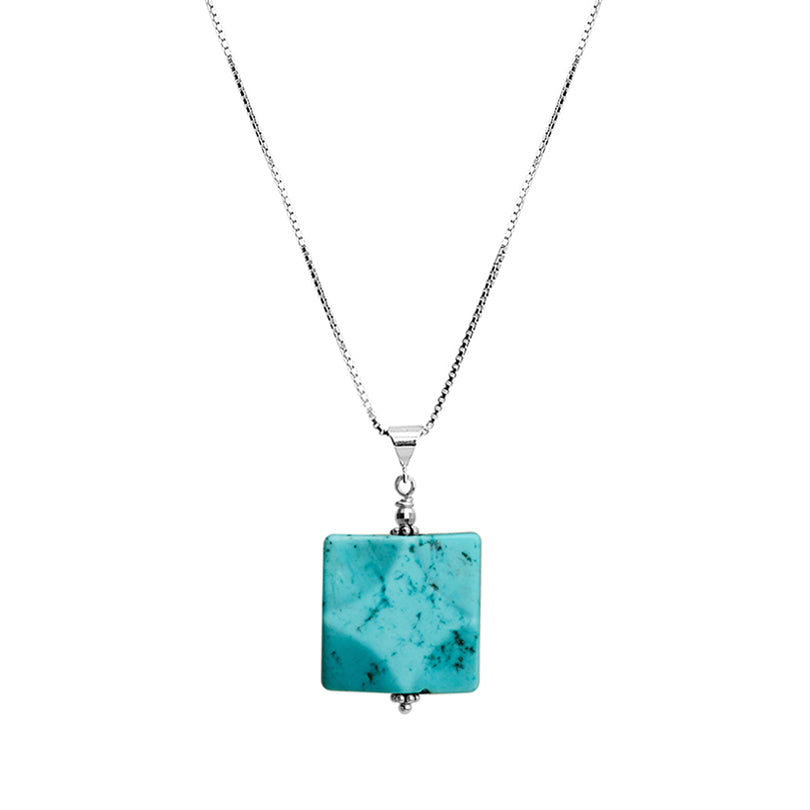 Beautiful Sky Blue Chalk Turquoise Sterling Silver Necklace