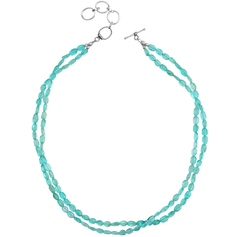 Gorgeous Sea-Green Apatite Double Strand Sterling Silver Necklace
