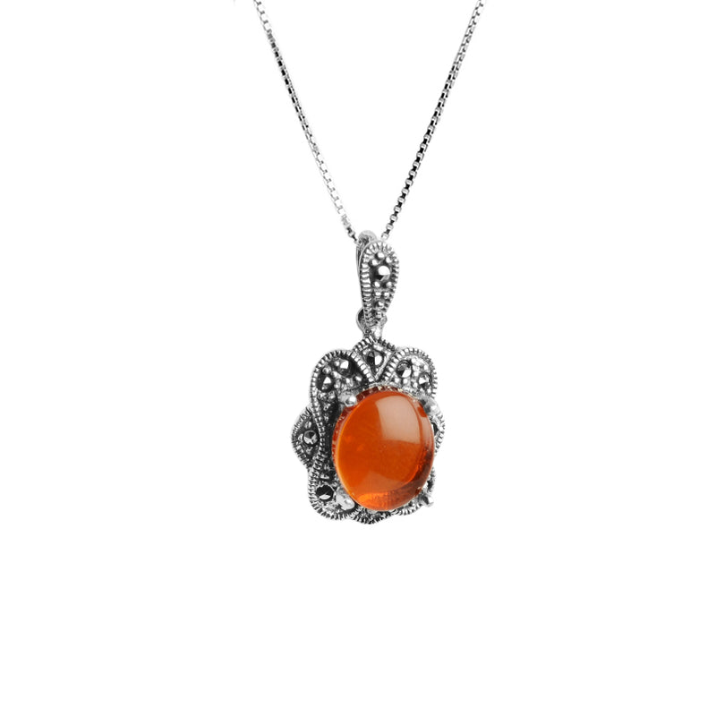 Stunning Baltic Cognac Amber and Marcasite Sterling Silver Necklace