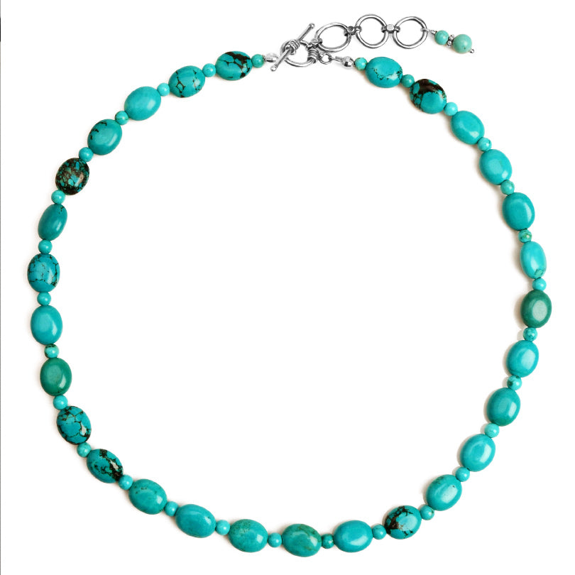 "Vibrant Magnesite Turquoise Sterling Silver Necklace 17"" - 19"""