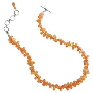 Flirty Tangerine Carnelian Necklace With Sterling Silver Clasp.