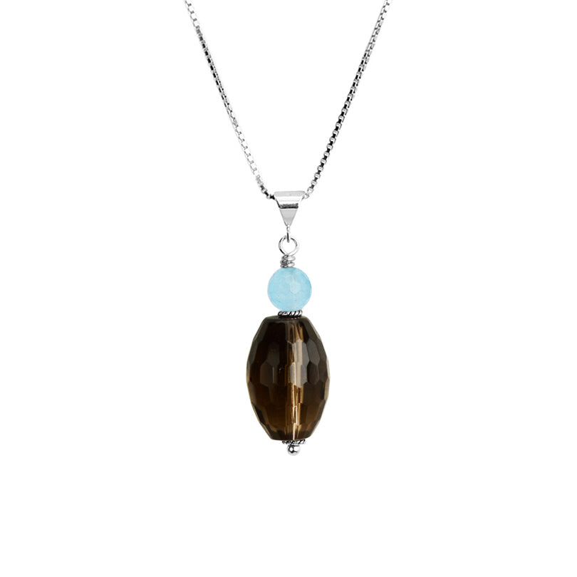 Beautifully Faceted Smoky Quartz Stone with Blue Agate Sterling Silver Necklace