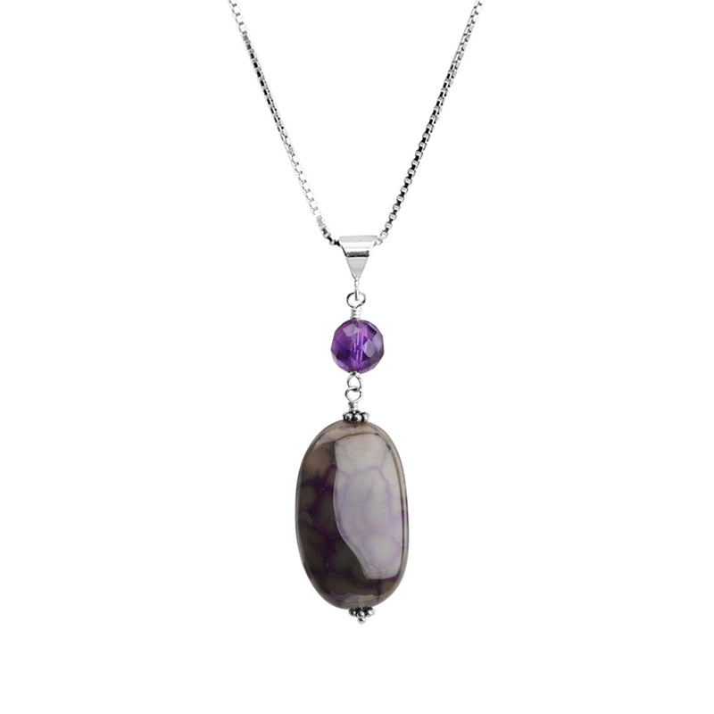 Beautiful Purple Agate With Amethyst Stones Sterling Silver Necklace
