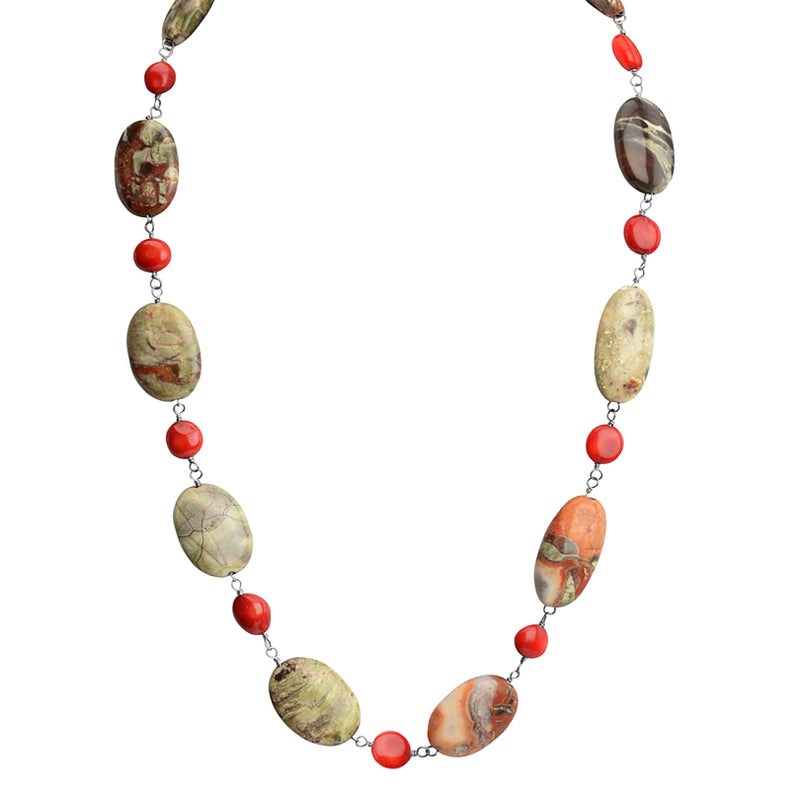 Beautiful Jasper and Coral Sterling Silver Necklace 22-24