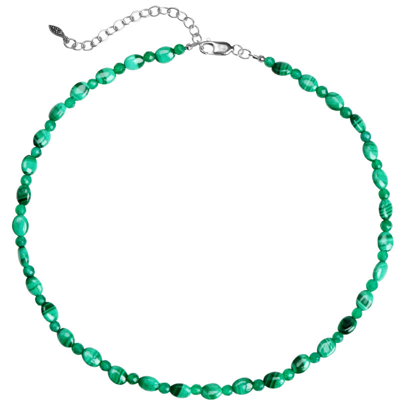 Rich Green Malachite Beaded Sterling Silver Necklace