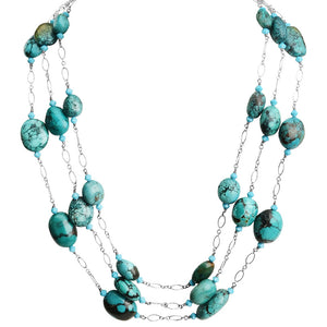Genuine Turquoise Stones Floating on Delicate Silver Strands Sterling Silver Necklace