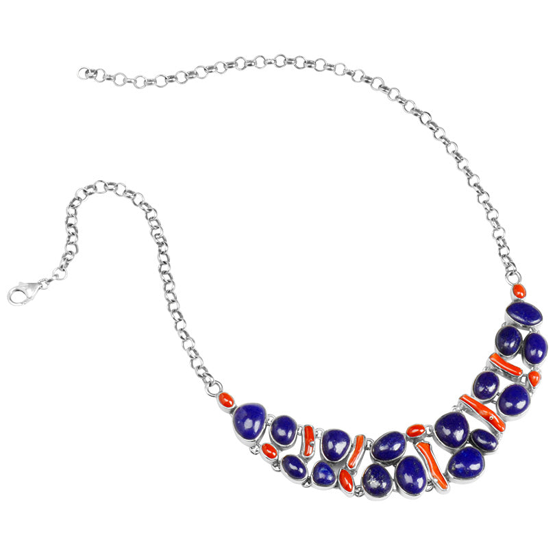 Rich Lapis & Coral Cobblestone Sterling Silver Statement Necklace
