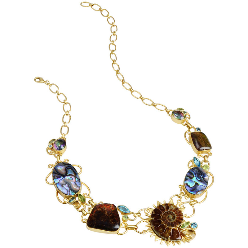 Gorgeous Ammonite and Mixed Gemstone Gold Plated Statement Necklace