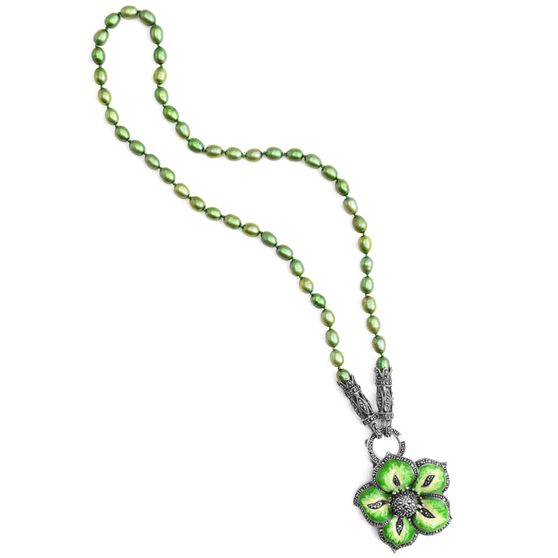 Beautiful Green Flower with  Marcasite Accent Sterling Silver Flower Necklace 17""