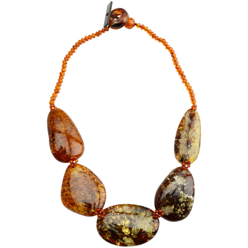 "Beautiful Large Cognac Baltic Amber Stones Statement Necklace 18""-one of a kind"