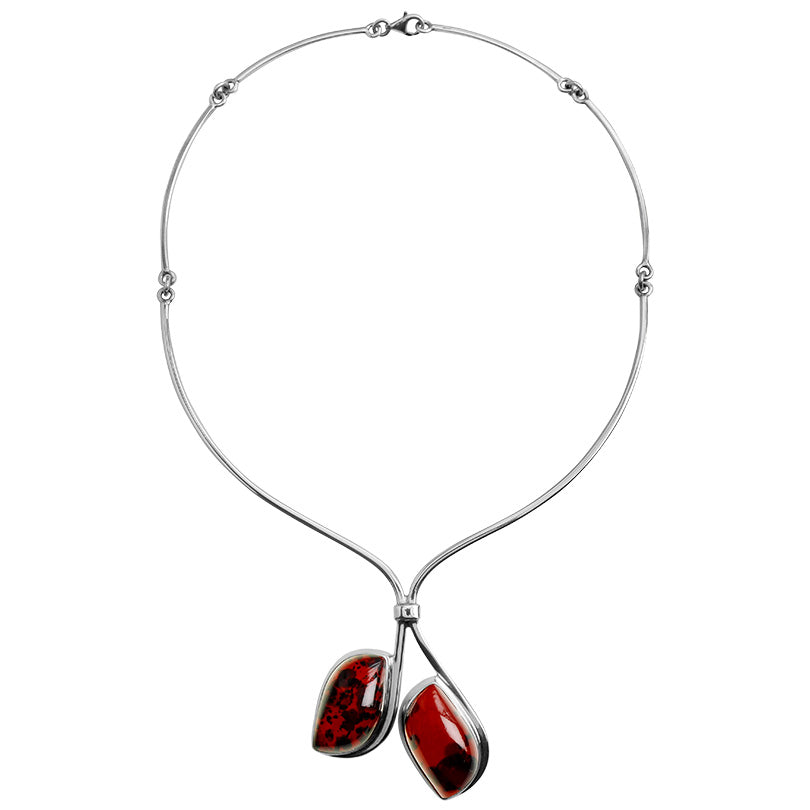 Gorgeous Deep Cherry Baltic Amber Sterling Silver Statement Necklace 18""