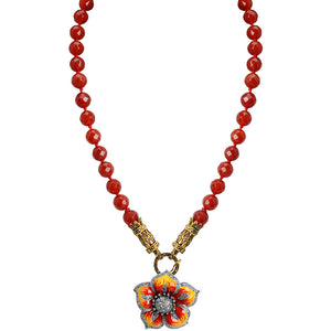 Gorgeous Bright Carnelian Gold Plated Marcasite Necklace With Sparkling Sterling Silver Flower Centerpiece.