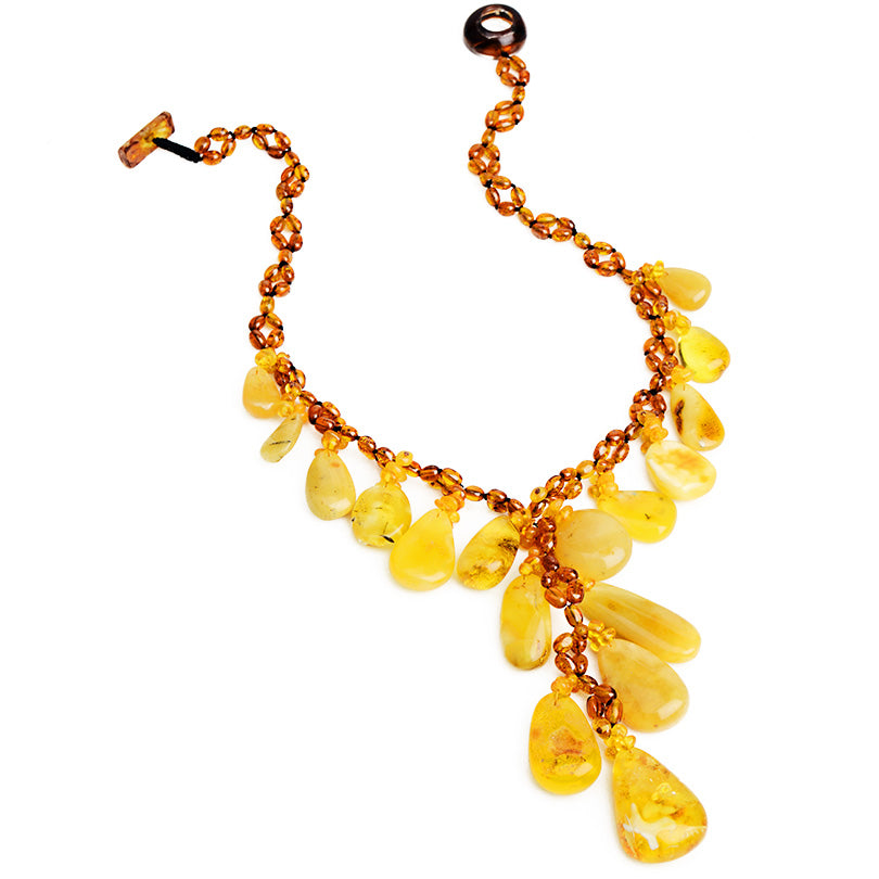 Polish Designer Lavish And Luxurious Natural Mixed Baltic Amber Drops Statement Necklace.