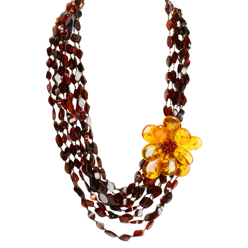Gorgeous Polish Designer Amber Flower Statement Necklace