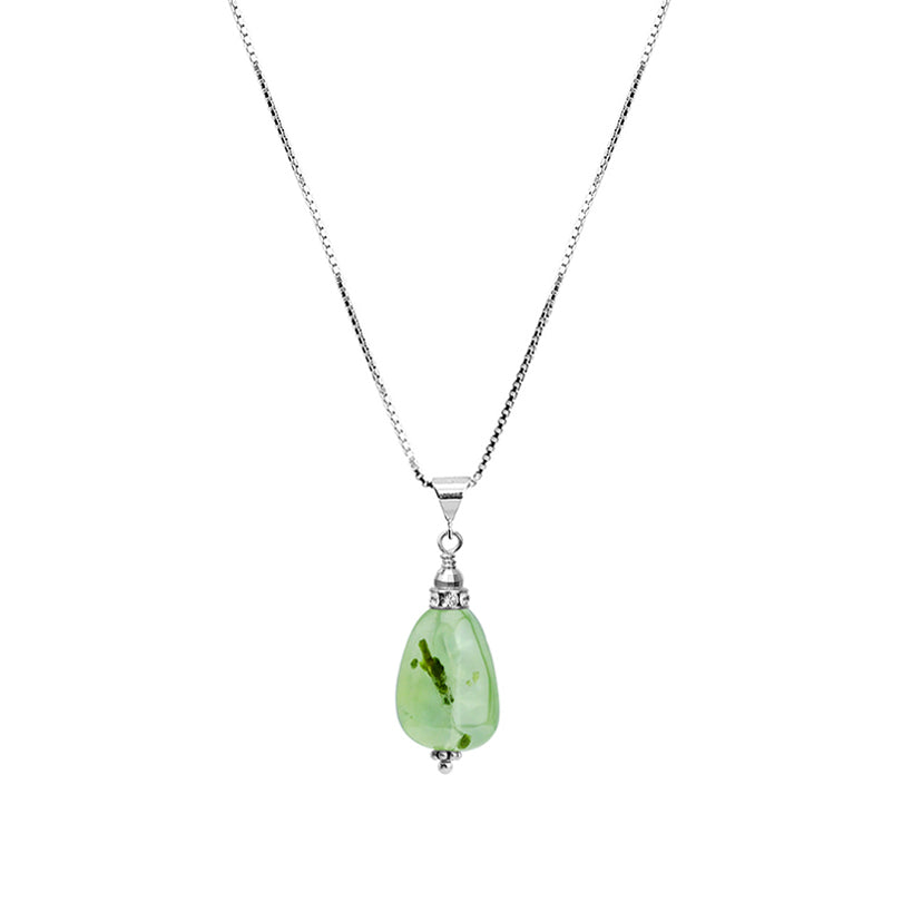 Beautiful Sea Foam Green Prehnite With Sparkling Crystal Accent Sterling Silver Necklace